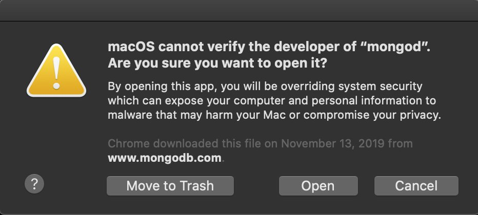 new alert with option to run the unrecognized mongo software