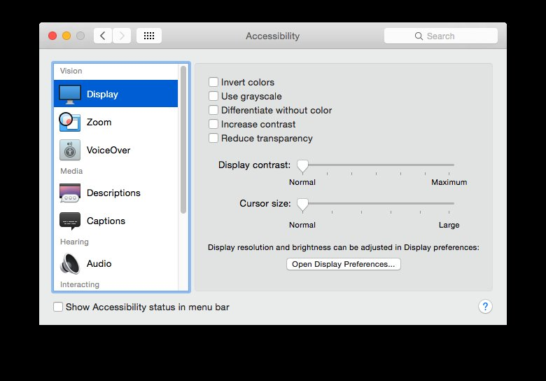 """Make sure that before running this, """"Display"""" is highlighted in Accessibility"""